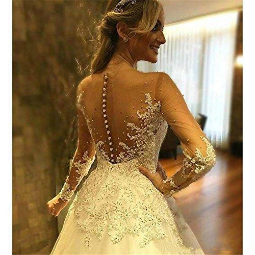 Donne Lungo Sposa Dmdrs Pizzo Da Delle Vestito Maniche Illusione Abiti Bianco Del Perline Di Pura Owvvrqd