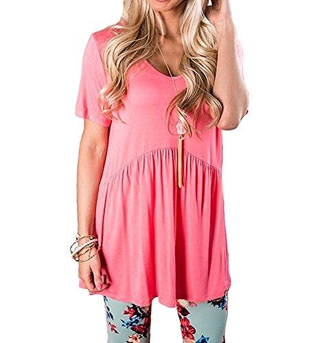Inital Women's V Neck Short Sleeve Peplum Babydoll Tunic Tops Blouse Watermelon (Tiered Ruffle Top)