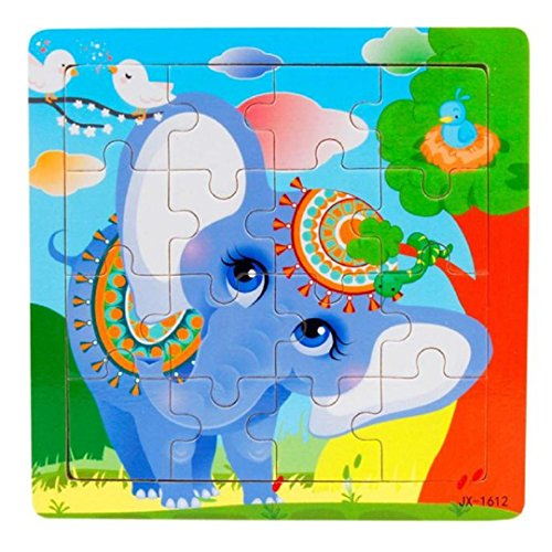 """Learning Puzzles,Malltop 16 Piece Cute Cartoon Elephant Wooden Jigsaw Toys For Kids Education 5.8""""x5.8"""""""