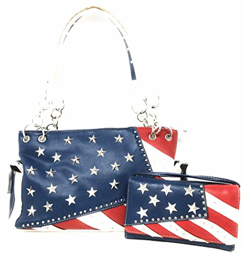 Texas West American Flag Stars and Stripes Rhinestone Women Leather Concealed Handbags Country Purse Wallet Set In Multi Colors (Blue) American West Womens Western Purse