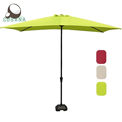 Rectangular Patio Umbrella, Outdoor Table Market Umbrella With Umbrella  Cover Push Button Tilt/Crank
