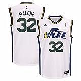 Karl Malone Utah Jazz NBA Adidas Men's White Replica Jersey (M)