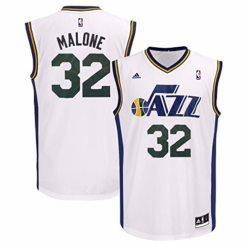 Utah Jersey (Karl Malone Utah Jazz NBA Adidas Men's White Replica Jersey (2XL))