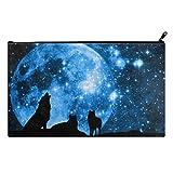 Wolf Forest Tree Night Moon Nebula Universe Galaxy School Pencil Case pencil Bag Zipper Clutch Organizer Purse Bag /Cosmetic Organizer Bag /Toiletry Bag/(Twin sides) 9.0''(L) x 5.5''(W)