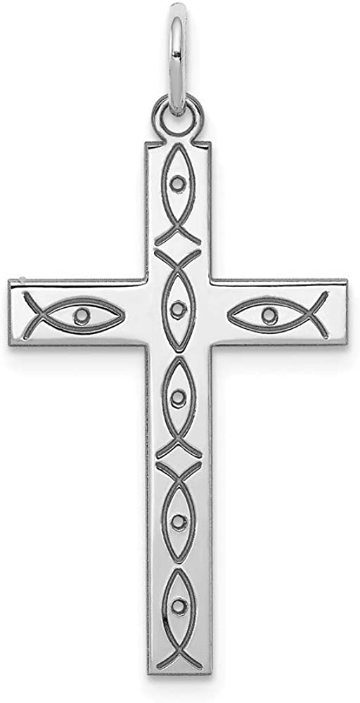 925 Sterling Silver Laser Designed Cross Religious Pendant Charm Necklace Ichthu Latin Fine Jewelry Gifts For Women For Her