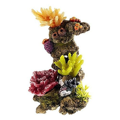 Small Coral Tower Colourful Reef Aquarium Decoration Fish Tank Ornament (Coral Reef Decorations)