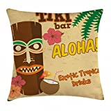 Ambesonne Tiki Bar Decor Throw Pillow Cushion Cover, Polynesian Statue with Tropical Drink Retro Typography Flora Old Aged Design, Decorative Square Accent Pillow Case, 16 X 16 Inches, Multicolor