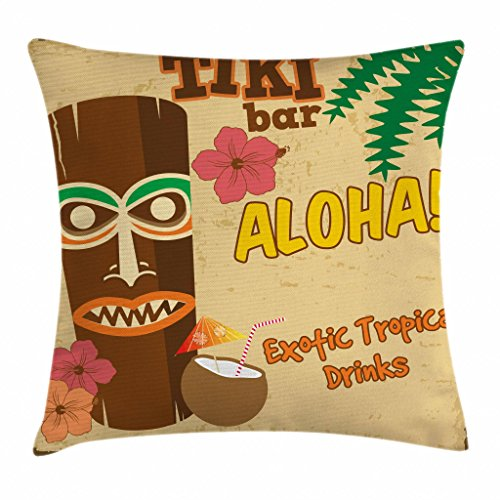 Ambesonne Tiki Bar Decor Throw Pillow Cushion Cover, Polynesian Statue with Tropical Drink Retro Typography Flora Old Aged Design, Decorative Square Accent Pillow Case, 16 X 16 Inches, Multicolor ()