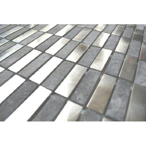 Stainless Steel Bricks And Gray Basalt Stone Mosaic Metal Tile- Kitchen Backsplash/Bathroom Wall/Home Decor/Fireplace Surround