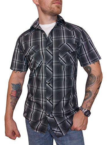 Stage Threads Men's Casual Pearl Snap Rock Shirt Short Sleeve