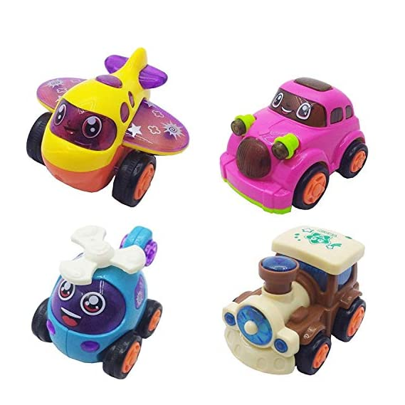 JMD Enterprises Pack of 4 Unbreakable Friction Powered Automobile Car Helicopter Plane Train Toys for Kids (Pack of 4)