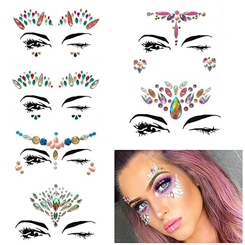 Discount Aolvo Mermaid Face Jewels, Mermaid Face Gems Festival Jewels Crystals Bling Crystals Face Stickers Eyes Face Body Temporary Tattoos for Music Festivals - 6 Sets