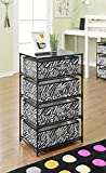 Ameriwood Home 7777096 Sidney 4-Bin Storage End Table, Zebra