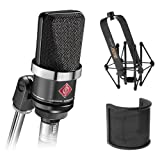 Neumann TLM-102 Large Diaphragm Studio Condenser Microphone (Black) with Suspension Shockmount & Pop...