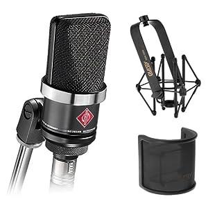 Neumann TLM-102 Large Diaphragm Studio Condenser Microphone (Black) with Suspension Shockmount & Pop Filter