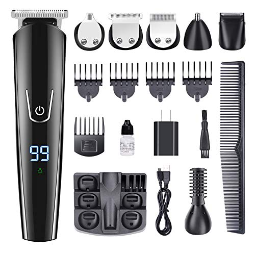 GOOLEEN Beard Trimmer for Men Cordless Mustache Trimmer Hair Trimmer 11 in 1 Grooming Trimmer Kit for Nose Ear Facial Hair Precision Trimmer Hair Clippers Body Groomer Waterproof USB Rechargeable (Beard Trimmer Accessories)