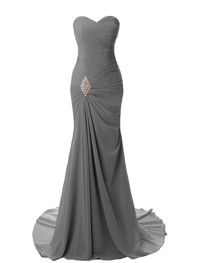 JYDress Womens Sweetheart Pleat Chiffon Long Formal Evening Dress Prom Gown: Amazon.co.uk: Clothing