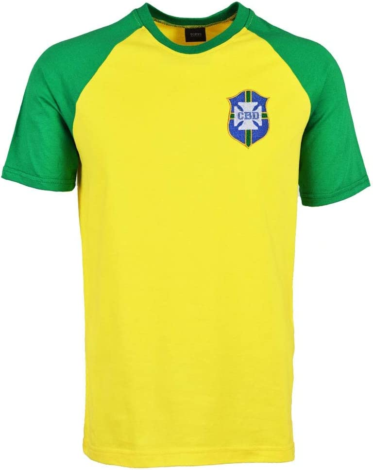 Brazil 2018 Raglan Home Retro Football Soccer T-Shirt Jersey