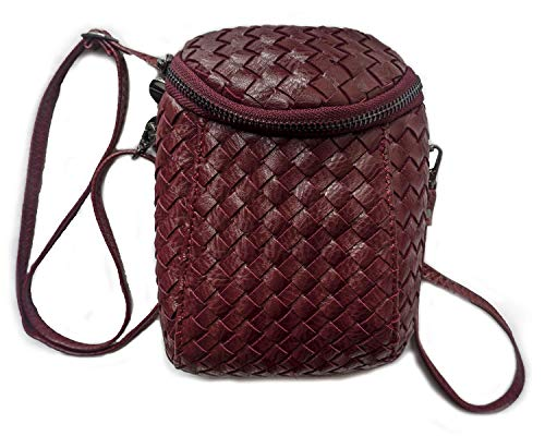 Women's Woven Bags PU Leather Handbag Designer Shoulder Bag Cross-body Purse Wine