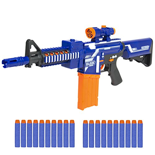 Best Choice Products Kids Soft Foam Bullet Blaster Semi Automatic Toy Gun Long Distance Range W/ 20 Darts Dart Gun