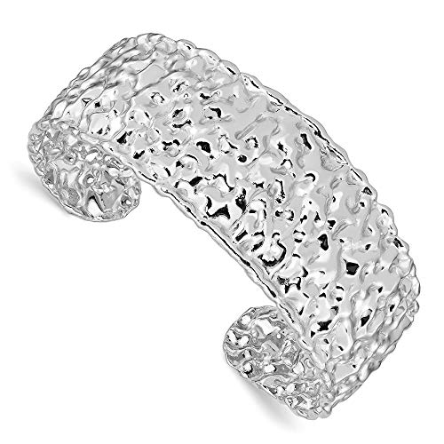 (925 Sterling Silver Textured Cuff Bangle Bracelet Expandable Stackable Fine Jewelry Gifts For Women For Her)