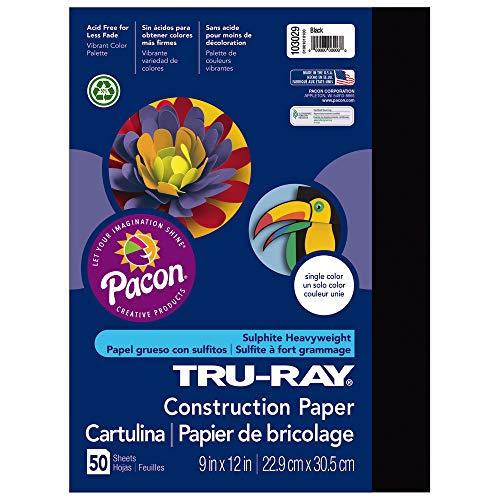 Pacon Tru-Ray Construction Paper, 9-Inches by 12-Inches, 50-Count, Black (103029)