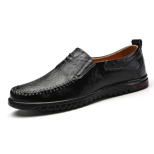 Hombres Zapatos Casuales Split Cuero Moda conducción Slip on Mocasines Hombres Zapatos Planos: Amazon.es: Zapatos y complementos