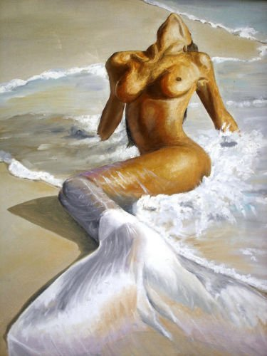 Real Hand Painted Sexy Young Girl The Mermaid by the Ocean & Waves on Beach Canvas Oil Painting for Home Wall Art Decoration, Not a Print/ Giclee/ Poster