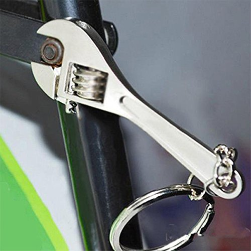 1 Pc Important Unique Keychain Frames Mini Pocket Wrench Spanner Exquisite Gift Useful Multiple Tool Utility Accessories Quick Strap Wrist Holder Finder Bottle Opener Men Teen Teenagers Color Silver