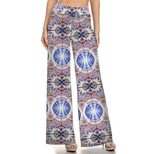 Cute Stile Waist Sciolto Pantaloni Chic Stampa Fashion Fiore 1 Etnico Larghi Hippie Donna Vintage Palazzo Libero High Colour Eleganti Tempo Estivi q6A7wPptfp