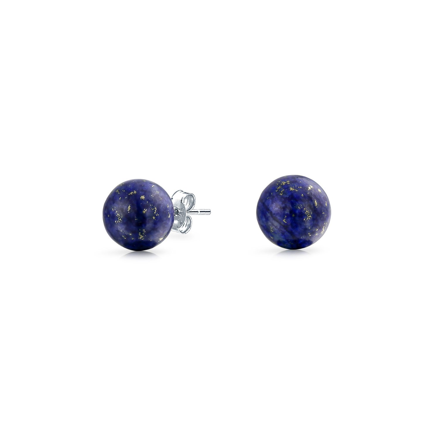 Bling Jewelry Silver Plated Dyed Lapis Gemstone Ball Stud Earrings 6mm CB-OV0001-6mm