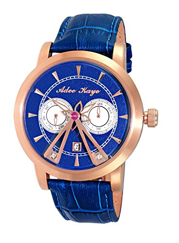 Adee Kaye Men's Stainless Steel Chinese-Automatic Watch with Leather Strap, Blue, 22 (Model: AK8871-RGBU