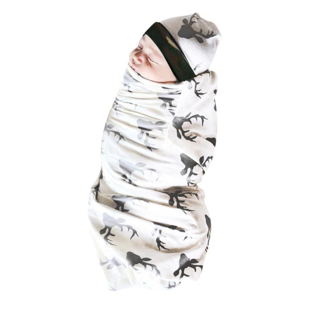 oldeagle 2Pcs Infant Baby Girls Boy Deer Print Pajamas Gown Swaddling Blanket Sleeping Wrap+Headband Set