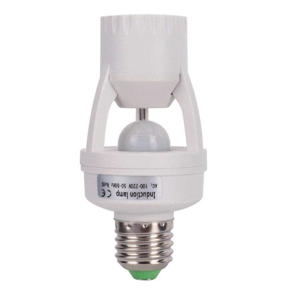 Chinatera Light Sensor Socket Light Switches Motion Sensing Light Socket Adjustable 360 Degree E27 socket