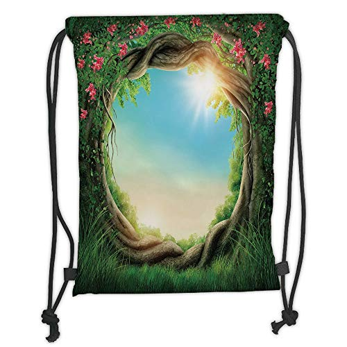 Custom Printed Drawstring Sack Backpacks Bags,Tree,Enchanted Forest in Spring Fresh Growth Foliage with Blossoms Fairytale Fantasy,Green Pink Cocoa Soft Satin,5 Liter Capacity,Adjustable String Closur (Foliage Fairy Green)
