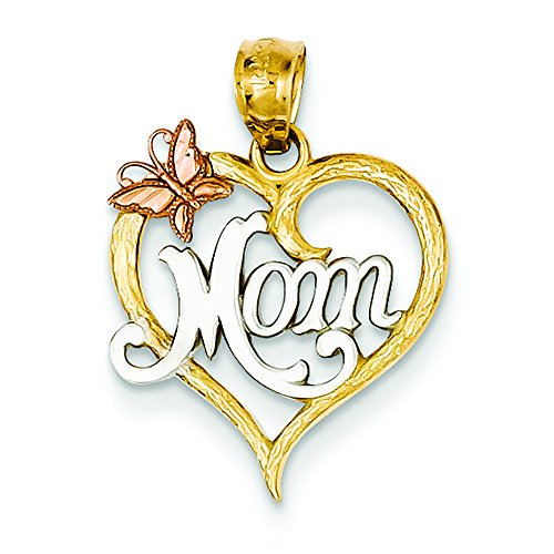 (14K Tri-Color Gold Mom in Heart with Butterfly Charm Pendant)