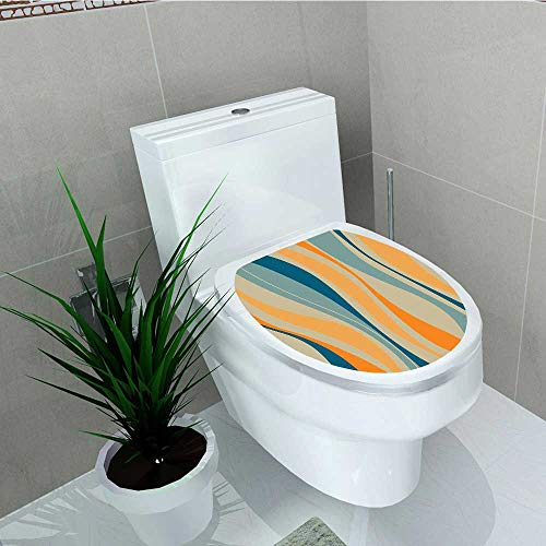 (Philip C. Williams Toilet Seat Wall Stickers Paper Stripes Chic Funky Lines Trendy Design s Art Orange Blue Tail Decals DIY Decoration W14 x L16)