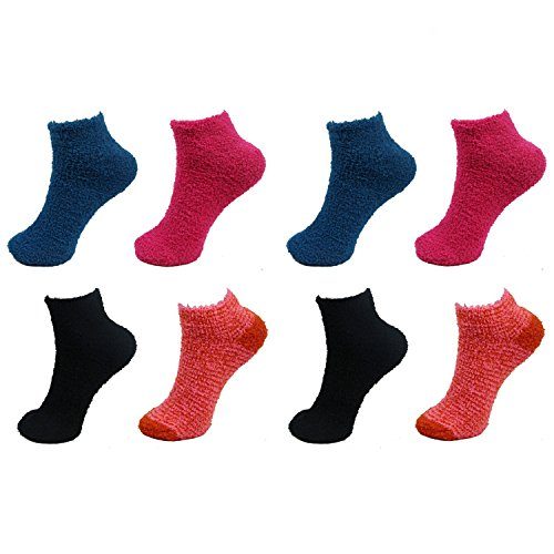 8 Pairs Assorted Super Soft Warm Microfiber Fuzzy Low Cut Home Socks - Value Pack - Asst A