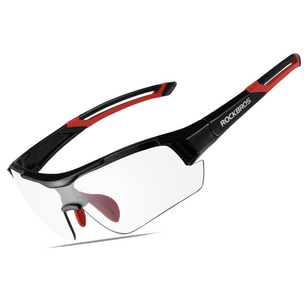 RockBrosユニセックスPhotochromicサングラスUV保護forアウトドアスポーツサイクリングブラック B072BSN3Q6ブラックレッド