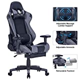 KILLABEE Big and Tall 350lb Massage Memory Foam Gaming Chair - Adjustable Massage Lumbar Cushion, Retractable Footrest and 2D Arms High...