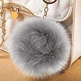Cosweet 20pcs 4 Inch DIY Faux Fox Fur Fluffy Pompom Ball- Faux Fox Fur Pom Pom Balls with Elastic Loop Removable Knitting Hat Accessories for Hats Shoes Scarves Bags Keychains