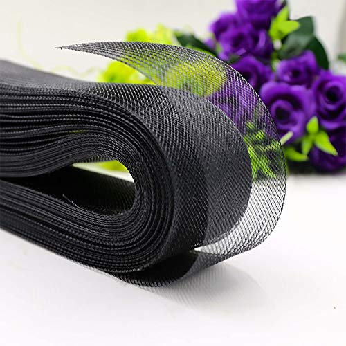 Teemico 50 Yards Stiff Polyester Horsehair Braid for Polyester Boning Sewing Wedding Dress Dance Formal Dress Accessories (Black, 1 inch)