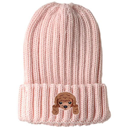 ([ Poodle ] Cute Embroidered Puppy Dog Warm Knit Fleece Winter Beanie Skull Cap [ Pink ])