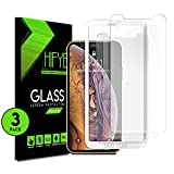 iPhone Xs Max Tempered glass Screen Protector. [3 in a pack] Full Screen 9H Hardness Shield, Case Friendly, Anti-Bubbles Scratch Free, Extra Durable and Comes with Easy to Install Kit