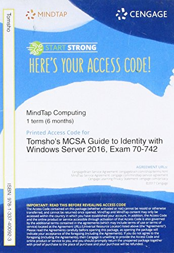 MindTap Networking, 1 term (6 months) Printed Access Card for Tomsho's MCSA Guide to Identity with Windows Server 2016, Exam 70-742, , 2nd ()