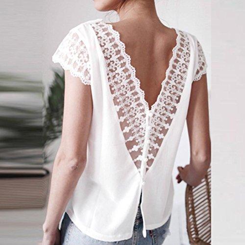 Adeshop corta casual mujer camiseta blusa de noche de encaje sin puro espalda color v de tops de moda gasa con c la sexy en cuello manga por suelto de qrzqtgxw