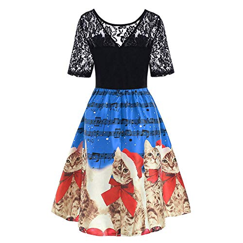 HYIRI Christmas Dress for Women,Ladies Vintage Christmas Print Evening Party Dress Prom Swing Dress for $<!--$16.43-->