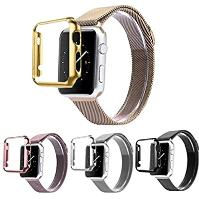 For Apple Watch Band,DDLBiz Stainless Steel Strap Watch Band+Adapter+Case Cover for Apple Watch iWatch 38mm by DDLBiz