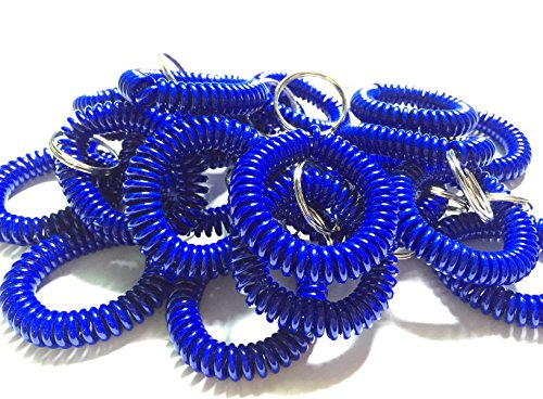 Happyi 10pcs Colorful Bright Assorted Pearlized Gradual Changing Colors Plastic Spiral Coil Wrist Band Key Ring Chain (Blue)
