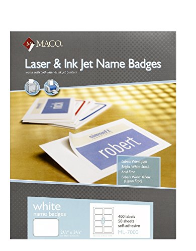 MACO Laser/Ink Jet White Name Badge Labels, 2-1/3 x 3-3/8 Inches, 8 Per Sheet, 400 Per Box (ML-7000)]()